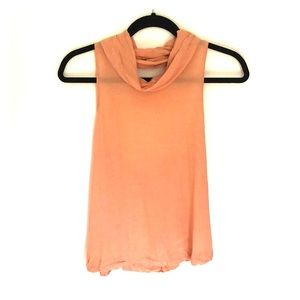 Peach turtle neck backless tank top